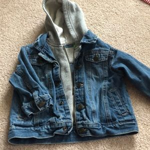 Blue jean jacket with fleece hoodie attached 18 M
